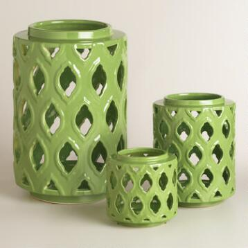 Green Ceramic Cutout Hurricane Candleholder