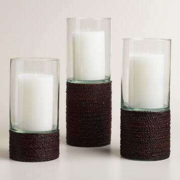 Brown Seagrass Hurricane Candleholder