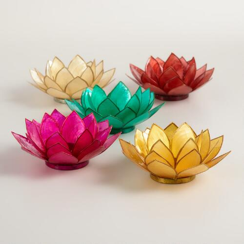 Capiz Flower Tealight Candleholders, Set of 5