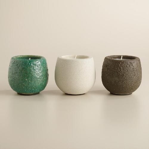 Citronella Filled Stone Pot Candles, Set of 3