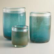Blue Bubble Glass Hurricane Candleholder
