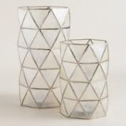 White Capiz Hexagon Hurricane Candleholder