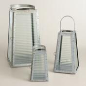 Galvanized Metal and Glass Angled Lantern