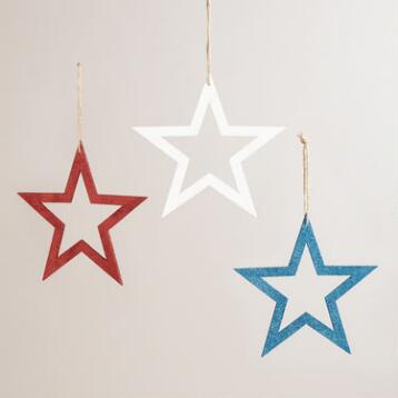 Red, White and Blue Glitter Stars, Set of 3