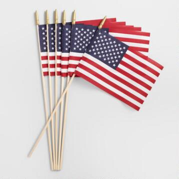 Handheld United States Flag, Set of 6