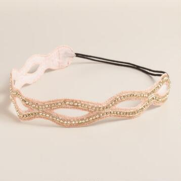 Champagne and Silver Beads Headband