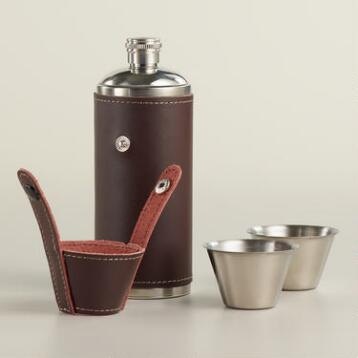 Stainless Steel and Leather Camping Flask Set