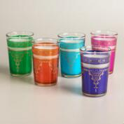 Small Moroccan Filled Tea Glass Candles, Set of 5