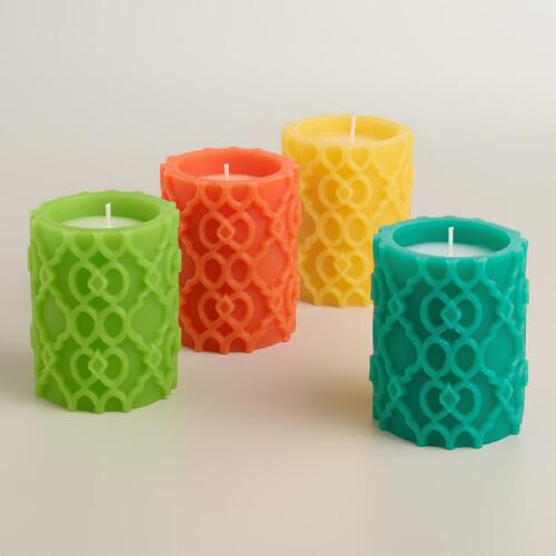 Citronella Ethel Carved Candles, Set of 4