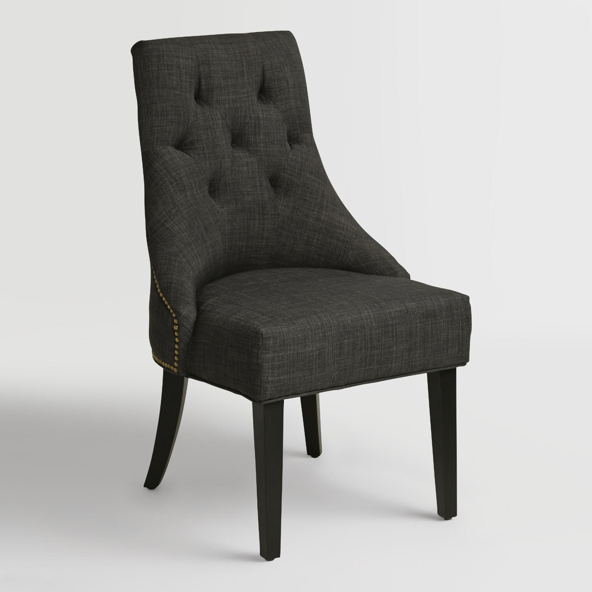 Charcoal Gray Linen Lydia Dining Chairs Set Of 2