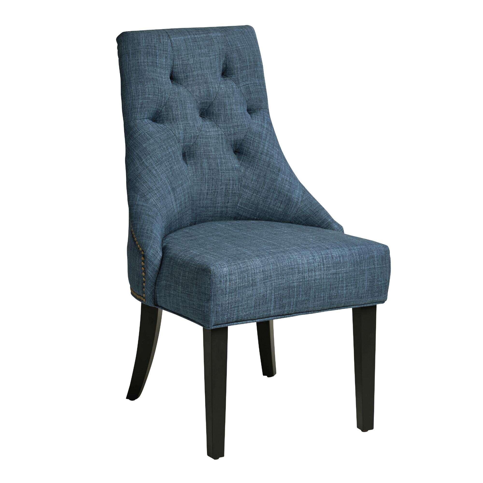 Denim Blue Linen Lydia Dining Chairs, Set Of 2