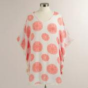 White and Coral Kaftan with Pompoms
