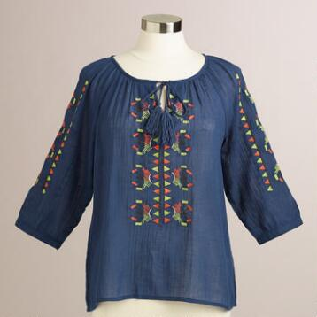 Navy and Green Embroidered Lucy Top
