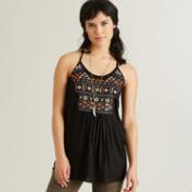 Black Embroidered Johanna Tank Top