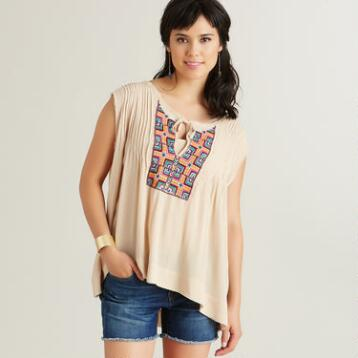 Beige Embroidered Rita Top