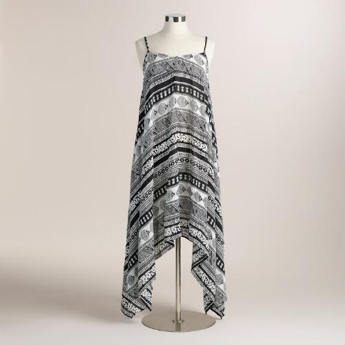 Black and White Riley Asymmetrical Maxi Dress