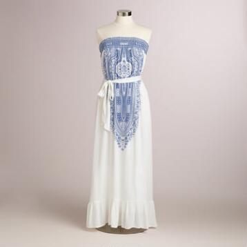 White and Blue Eva Maxi Dress