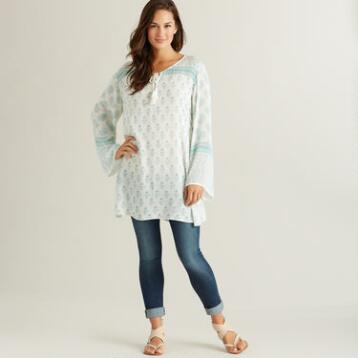 Aqua and White Adalyn Tunic