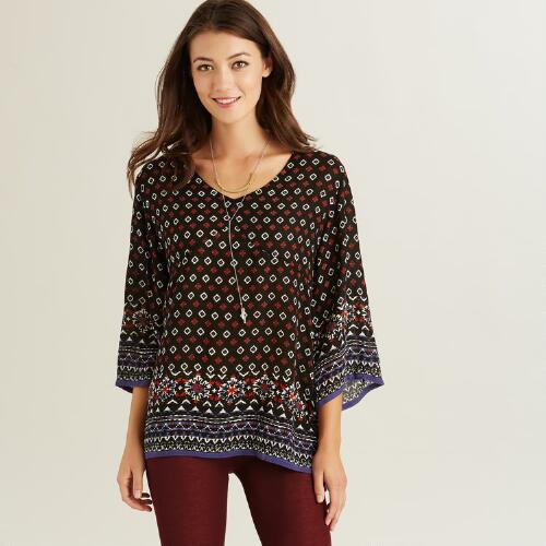 Black and Purple Ikat Bianca Top