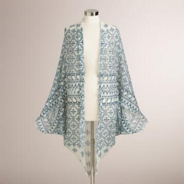 Ivory and Blue Kimono with Fringe