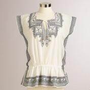 White Embroidered Iveta Kaftan