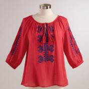 Red and Blue Embroidered Lucy Top