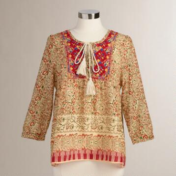 Red Aztec Embroidered Tia Top