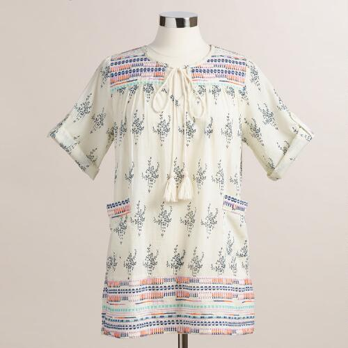 Ivory and Black Embroidered Sara Tunic