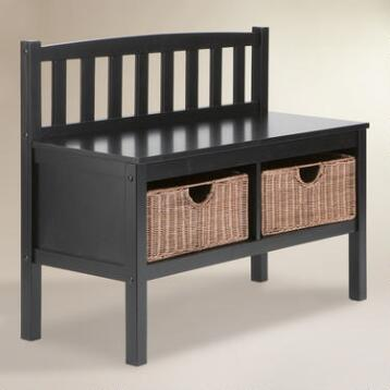 Black Oakdale Storage Bench