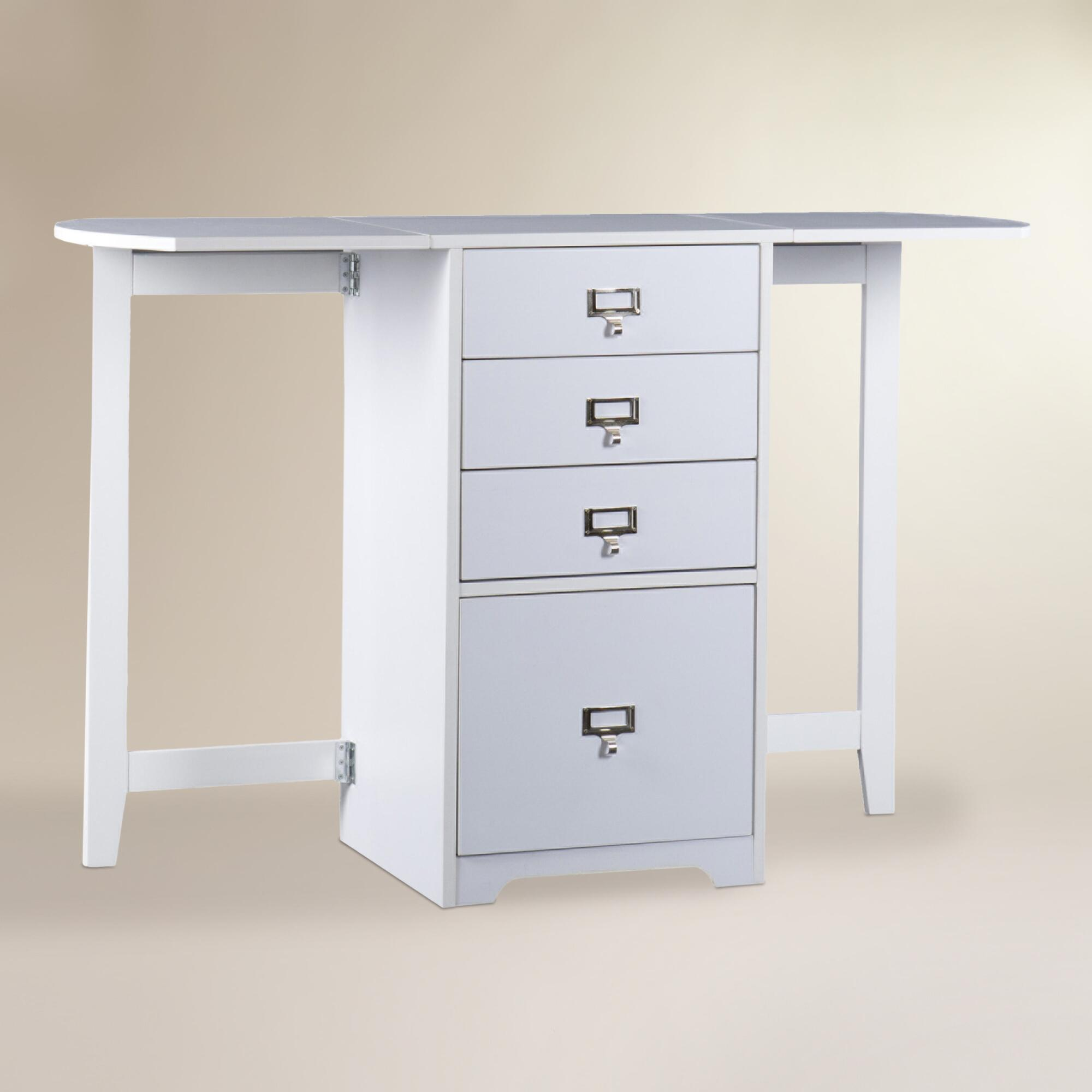 White folding craft desk world market for Fold up craft table