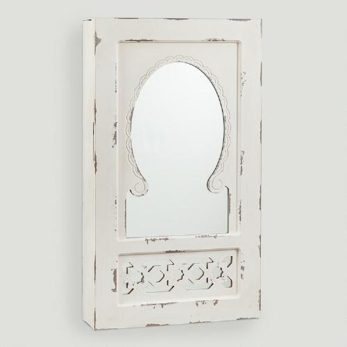 Antique White Nali Wall Jewelry Armoire with Mirror