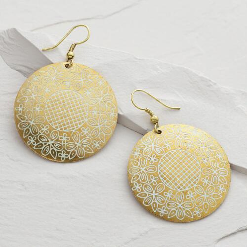 Gold and White Drop Hoop Earrings