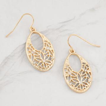 Gold Filigree Oval Drop Earrings