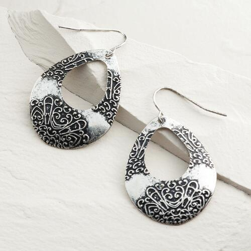 Silver Etched Teardrop Earrings