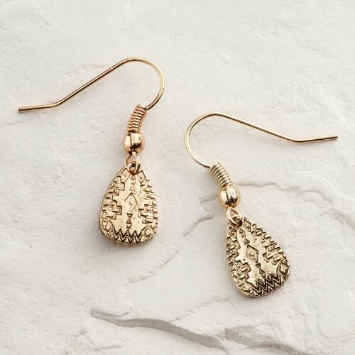 Small Gold Tribal Drop Earrings