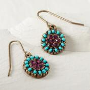 Turquoise and Purple Drop Earrings