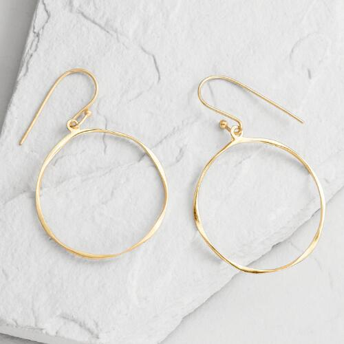 Uneven Gold Drop Hoop Earrings