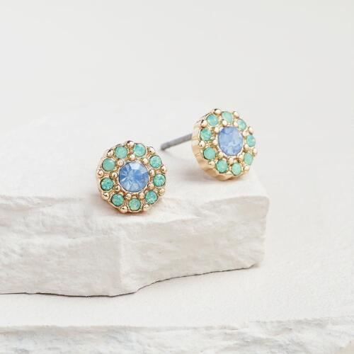 Round Faceted Chalcedony and Pacific Opal Stud Earrings