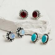 Garnet, Moonstone and Turquoise Trio Stud Earrings, Set of 3