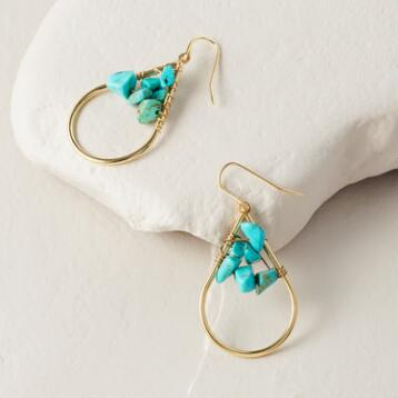 Gold and Turquoise Stone Teardrop Earrings