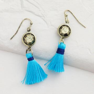 Gold and Blue Tassel Drop Earrings