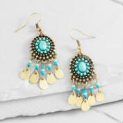 Gold and Turquoise Bead Dangle Earrings