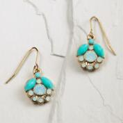 White Opal and Turquoise Enamel Drop Earrings
