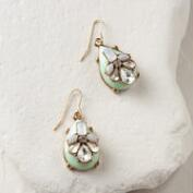 Mint and Rhinestone Statement Teardrop Earrings