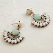Mint and White Opal Statement Drop Earrings