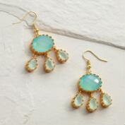 Aqua Calsidony Statement Dangle Earrings