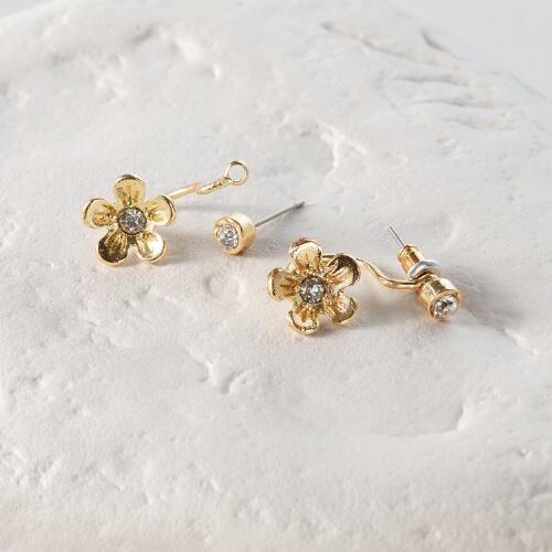 Gold Flower Ear Jacket Drop Earrings