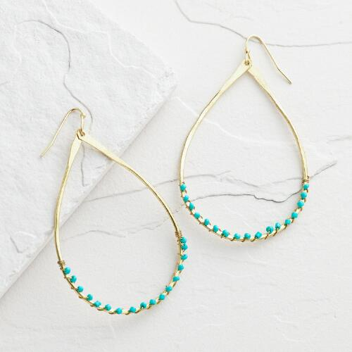 Large Gold and Turquoise Beaded Teardrop Earrings