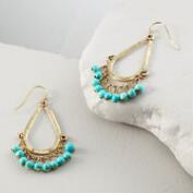 Gold and Turquoise Teardrop Dangle Earrings