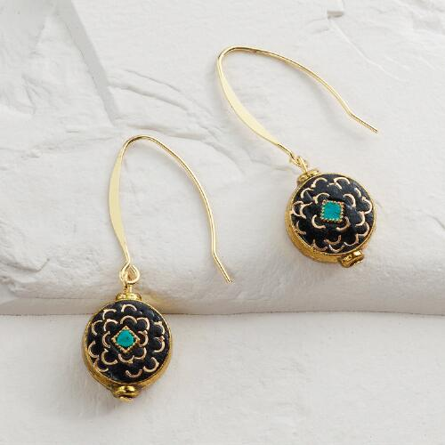 Gold and Turquoise Round Linear Drop Earrings